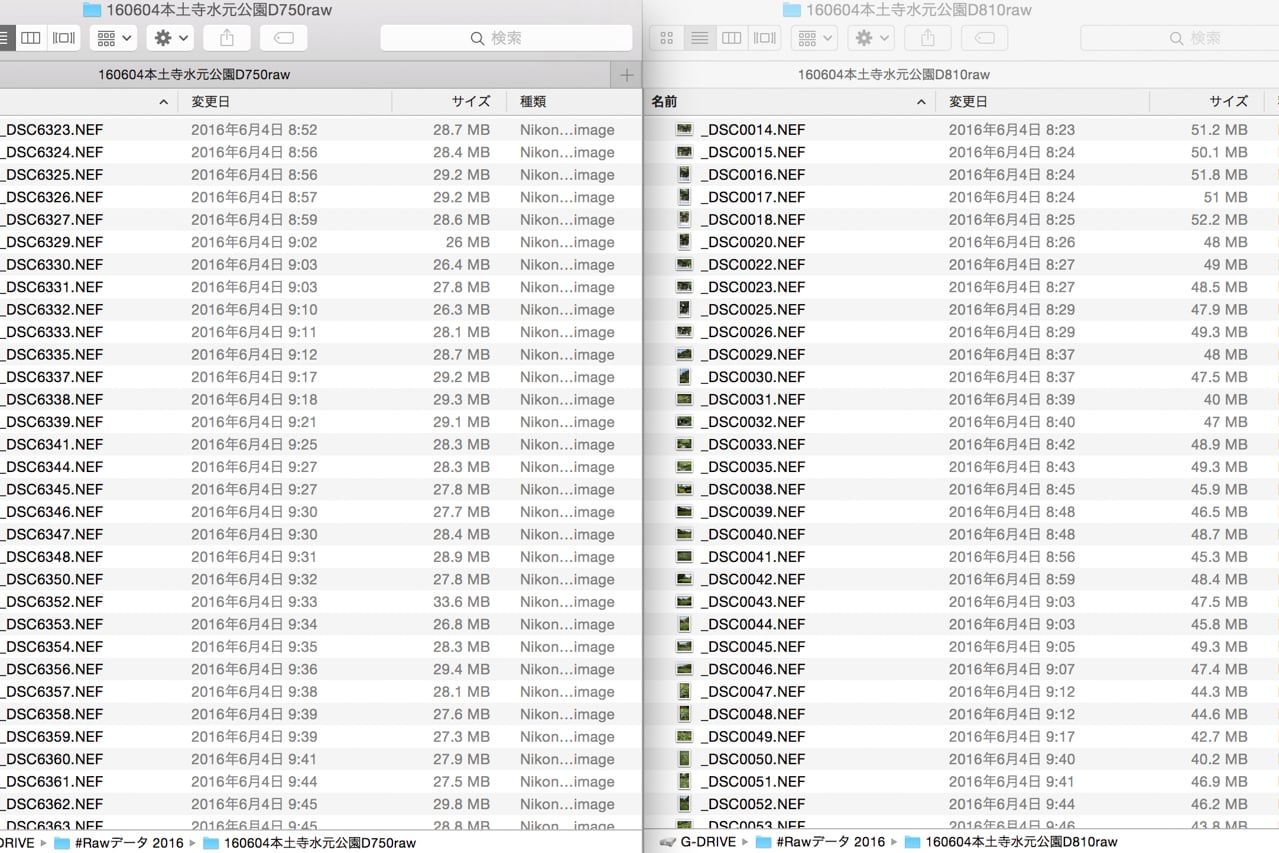 RAWデータファイルサイズ